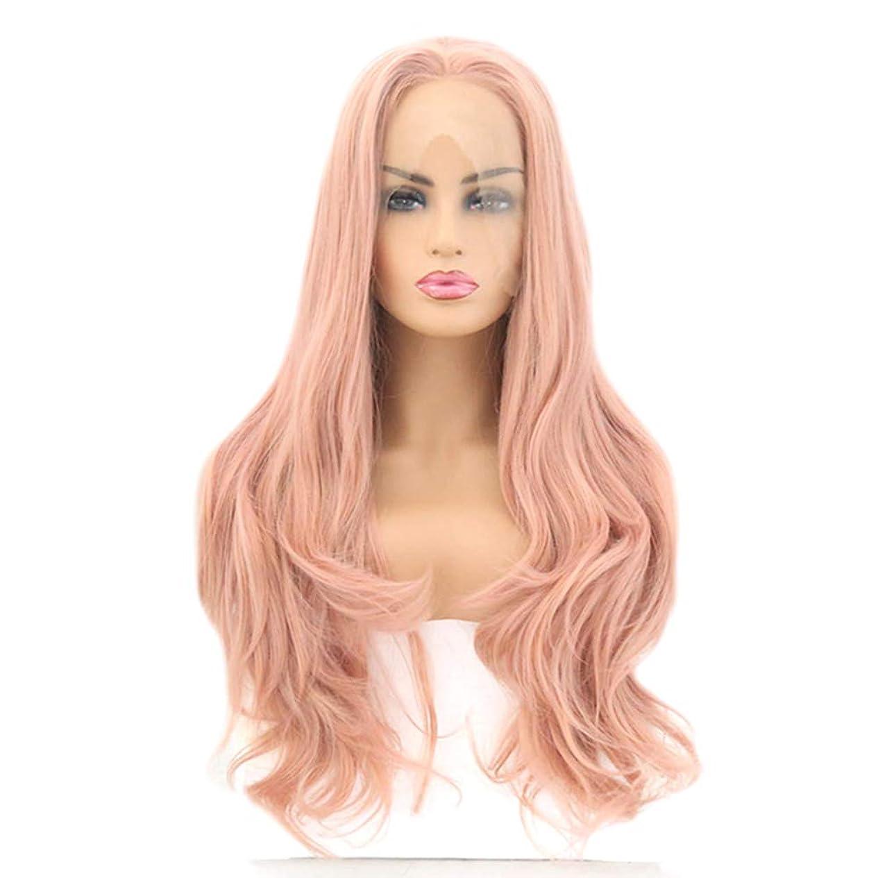 平方自我取り扱いファッション女性のかつら、自然なフロントレースオレンジ波状トウモロコシの長い髪のかつら、任意の頭の形のための調節可能なかつら16-26インチ