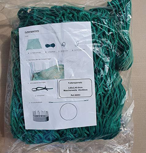 Landkaufhaus Mayer Futtersparnetz für Heuraufen 3,60 x2,40m grün,Maschenweite 45 x 45mm, Seilstärke 5mm!!,inkl. Elastikseil mit Verschluß
