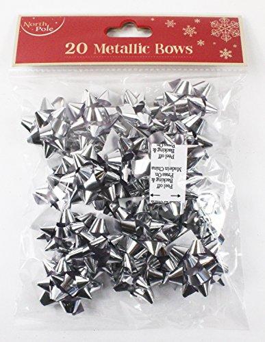 Lot de 20 mini nœuds de Noël argentés brillants pour emballage cadeau + pois gratuits