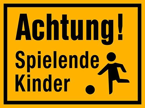 selbstklebendes(!) Schild, Achtung spielende Kinder, 400 x 300 mm, 1,5mm dick/einfach andrücken - fertig, kein Bohren !!