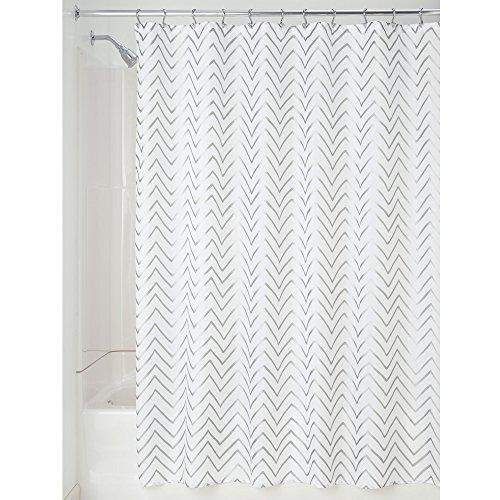 iDesign Sketched Chevron Duschvorhang   Badewannenvorhang mit Zickzack-Muster   Designer Duschvorhang 183,0 cm x 183,0 cm   Polyester silber