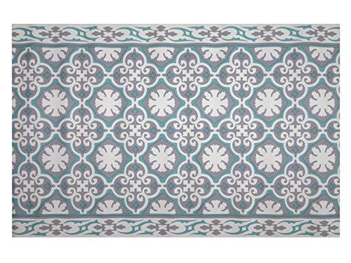 Friedola PVC Küchenläufer Küchenvorleger rutschfest Abwaschbar - Vintage - Dunkelblau - 65x180 cm, Küchenmatte, Badezimmer Läufer Matte