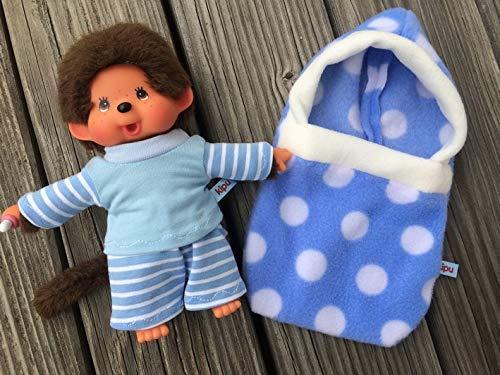 Puppenkleidung handmade für MONCHICHI Gr. 20 cm Schlafsack Pucksack + Pyjama JUNGE blau & Punkte NEU
