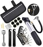 T WILKER Bomba de Bicicleta,Mini Bomba de 120 PSI con Tubo Adaptador de Bomba para Válvulas Presta y Schrader Herramienta Multifunción de Reparación Caja de Reparación de neumáticos Llave para Huesos