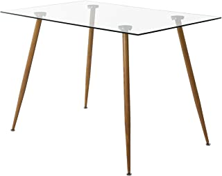 H.J WeDoo Table Salle à Manger Rectangulaire Scandinave Design en Verre Trempé pour 4 a 6 Personnes 110 x 70 x 75 cm