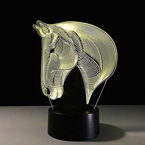 Jiushixw 3D acryl nachtlampje met afstandsbediening van kleur veranderende tafellamp mode cadeau nacht babykamer romantische mooi paard geel en grijs tafel