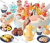 GeyiieTOYS Spielzeug Kuchen, Kleine Küchenmeister Geburtstagstorte Zubehör für Kinderküchen, Kuchenstücke mit Klett für Spielküche und Kaufmannsladen, ab 3 Jahren, 88 PCS
