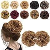 MORICA 2PCS Messy Hair Bun Extensions Curly Wavy Messy Synthetic Chignon Hairpiece Scrunchie Scrunchy Updo Hairpiece for women.