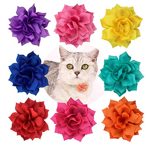 BIPY 8PCS Small Dogs Collar Flower Bows Puppies Cats Collar Charms Adjustable Accessories Slides Grooming Attachment Bowties for Costume Birthdaywedding Festival