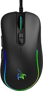 ゲーミングマウス光学式 usb有線 マウス1680万色のRGBライト 最大6400DPI 調整可能 7ボタン/7個のプログラムボタン/手首の痛みを予防 握り心地よい 耐汗&滑り止 PUBGなど対応 (ブラック)