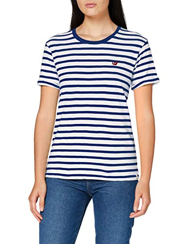 Scotch & Soda Maison Womens Organic Easy Stripe Tee with Chest Embroidery T-Shirt, Combo B-0218, M