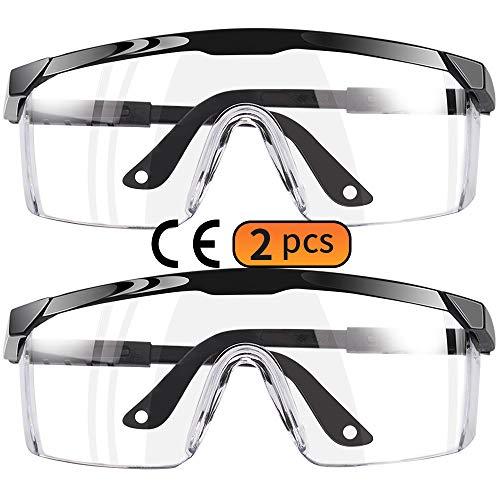Maylisacc 2 Pack Gafas Protectoras Trabajo, Gafas de Seguridad Transparentes Ajustables Protección Antivaho Ligero para Hombres, Mujeres y Jóvenes