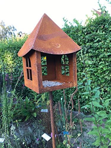 ShopHerzog Vogelhaus zum Stecken aus rostigem Metall, B16 x H28 cm, Stab ca. 145 cm