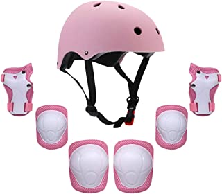 Explopur Kids Helmet And Pad Set,Kids 7 in 1 Helmet and Pads Set Adjustable Kids Knee Pads Elbow Pads Wrist Guards for Sco...