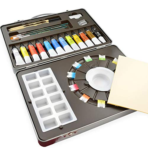 Pebeo Studio Watercolor Paint Set in Metal Gift Tin - with Paints, Palette and Brushes - Set of 34
