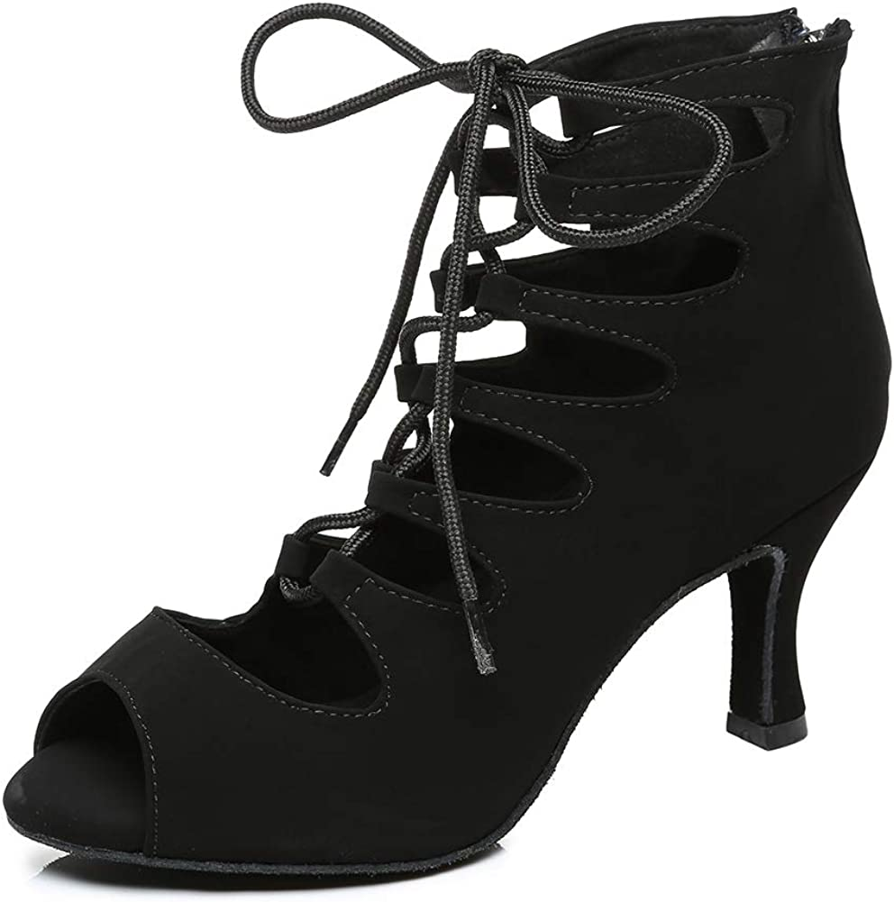 SWDZM Women's Latin Dance Boots Bombing free shipping with Max 67% OFF Salsa Ballroom Straps Satin