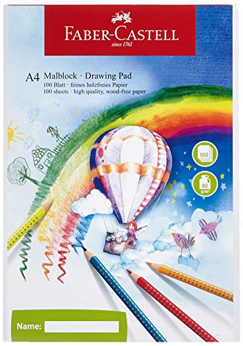 Faber-Castell 212049-5 - Blocco da disegno, formato DIN A4, 100 fogli, 5 blocchi