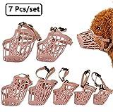 Beikalone 7pcs/set Plastic Dog Muzzle, Anti Bite Adjustable Pet Basket Masks, Dogs Training