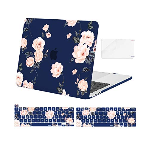 MOSISO Compatible with MacBook Pro 13 inch Case 2016-2020 Release A2338 M1 A2289 A2251 A2159 A1989 A1706 A1708, Plastic Camellia Hard Shell Case&Keyboard Cover Skin&Screen Protector, Blue