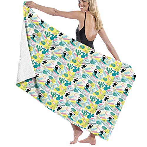 Microfiber Beach Towel Quick Dry Pool Towel,Island Aloha Nature Art Pattern with Toucan Flamingos Cactuses and Exotic Leaves,Lightweight Camping Towel Suitable for Adults Women Men
