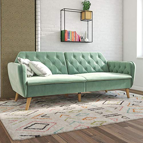 Novogratz Tallulah Memory Foam Sofa Bed, Light Green Velvet Futon,