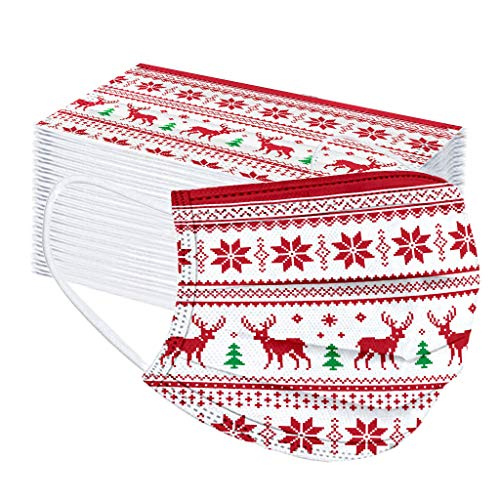 Your New Look 10-100 Stück Weihnachtsdruckbandanae Einweg-Schutzbandanae für Erwachsene mit Schneeflockendruck aus nicht gewebter