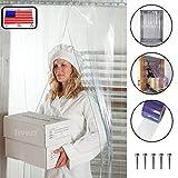 Strip Curtain Door Kit - 42' x 84' - Set of Clear PVC Vinyl Strips for Walk in Freezers, Commercial Kitchen, Unit Cooler Room, Warehouse Doorways - Steel Universal Mount Hardware Included
