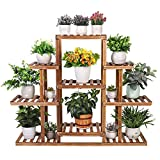 unho Multifunctional 6 Tier Plant Rack Wood Display Shelf Flower Bonsai Pot Storage Stand Holder for Home Balcony Patio Garden