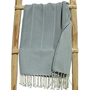 ZusenZomer Original Fouta Hammam Towel xl PLAYA 100x180 Grey - Lightweight Beach Towel Fouta Beach Towel 100% Soft Cotton with Elegant Herringbone weaving - Exclusive Foutas Design