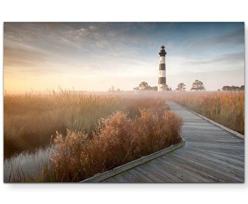 Paul Sinus Art Leinwandbilder   Bilder Leinwand 120x80cm Steg zum Leuchtturm im Sonnenschein
