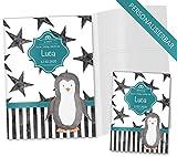 U-Heft Hülle 3-teilig Set Creative Royal Untersuchungsheft Hülle & Impfpasshülle personalisierbar mit Namen und Geburtsdatum (U-Heft Set 3-teilig personalisiert, Pinguin)