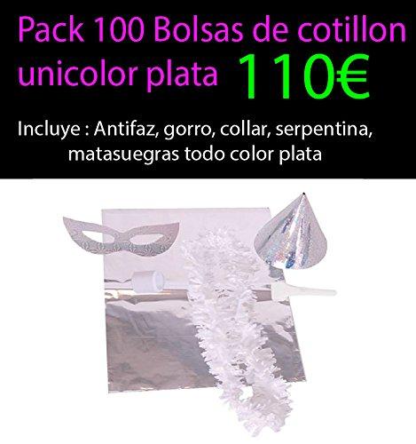 Pack 100 bolsas de cotillon plata unicolor metalizadas