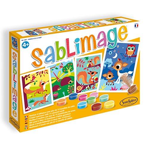 Sentosphere 08801 Sablimage Sandbilder Bastelset für Kinder, Motiv Waldtiere, Kreativset, DIY
