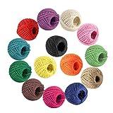 Cuerda de Cáñamo Colorido Jute Twine Cordel Natural 14 Colores 2 mm 3 Capas Hecho a Mano Cáñamo para las ilustraciones,manualidades, guita de envoltura de regalos, Botellas Decoraciones 327 Yardas