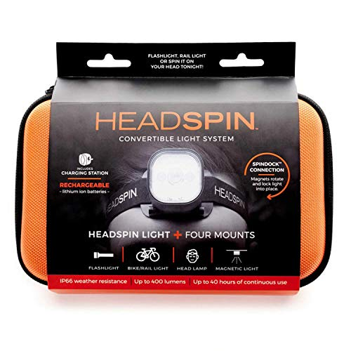 HEADSPIN: Rugged Weatherproof Outdoor Light System up to 400 Lumens | All-in-One Converts from Flashlight to Headlamp, Bike, Rail or Magnetic Light, Up to 40 Hour Run Time - Spot, Strobe & Flood
