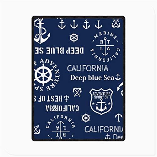 Manta de Cama de Franela de Forro Polar, Manta de Microfibra Suave Difusa de Felpa Reversible, Espíritu Aventura Del Mar Azul Profundo California Manta Estampada, para Silla y Sofá ( Size : 70'x 90' )