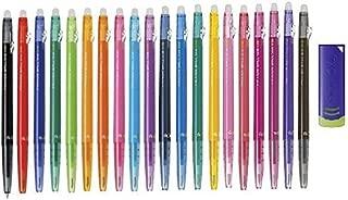 Pilot FriXion Ball Slim 038 Retractable Erasable Gel Ink Pen, Extra Fine Point, 0.38mm, 20 Color Set & FriXion Eraser