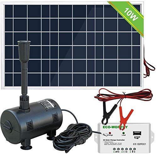 DCHOUSE Bomba de Fuente, Panel Solar de 10 W (con Controlador eléctrico...