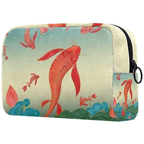 Bolsa de cosméticos para mujeres, carpa roja fresca, bolsas de maquillaje accesorios organizador regalos