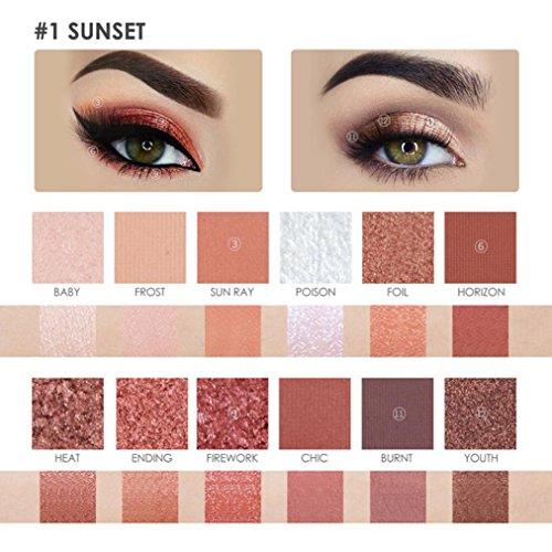 Coloré(TM) Palettes de maquillage 12 couleurs poudre cosmétique fard à paupières Palette maquillage pinceau miroir ensemble (A)