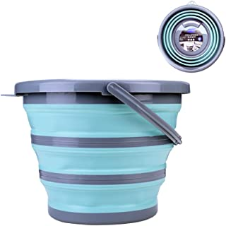 BROADSEAL Collapsible Mop Bucket with Handle,Portable Fishing Water Pail,Car Wash Bucket,Collapsible Bowls for Camping,10L (2.6 Gallon) Plastic Bucket (Green&Gray)