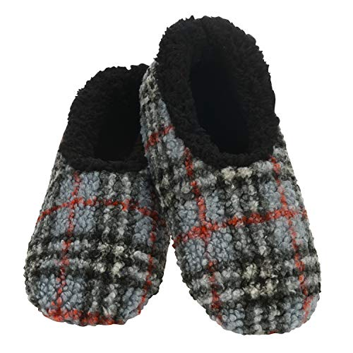 Snoozies Mens Slippers - House Slippers for Men - Boucle Plaid - Grey - Medium