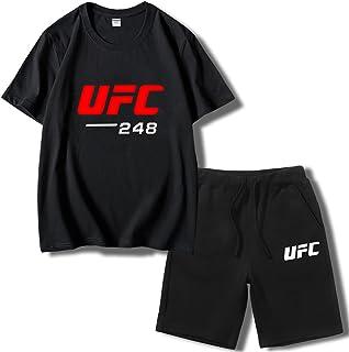 تي شيرت رجالي مناسب للتمارين الرياضية، MMA اللياقة UFC طباعة قمصان وسراويل قصيرة وتي شيرتات ، هدية لمحبي UFC (المقاس: X-La...