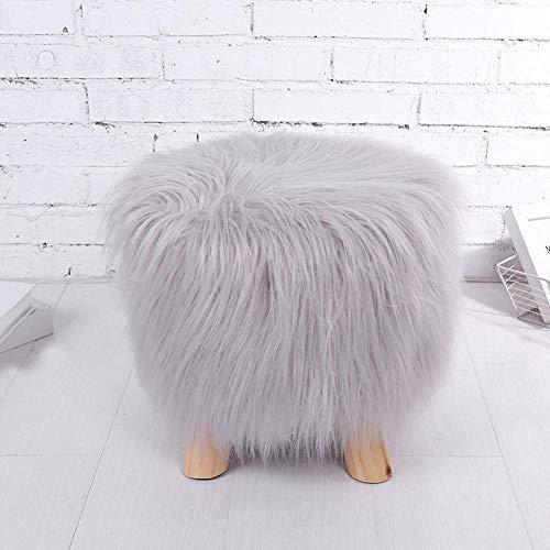 Premium Furry Ottomans, runder Fußschemel Fußstützenhocker, superweich mit Massivholzbeinen Ideal für Wohnzimmer Schlafzimmer Kinderzimmer-grau 12x12inch
