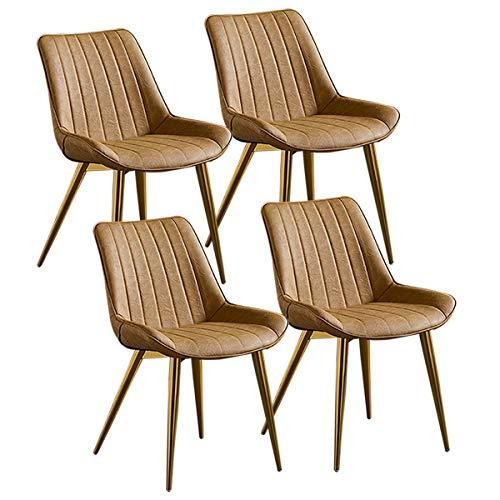 ZCXBHD Vintage keukenstoelen, set met 4 verdikte stoelen van PU-leer, luxueus, eetkamerstoelen, poten van verguld metaal, bureaustoel, stoel, vergaderruimte, hotel, restaurant