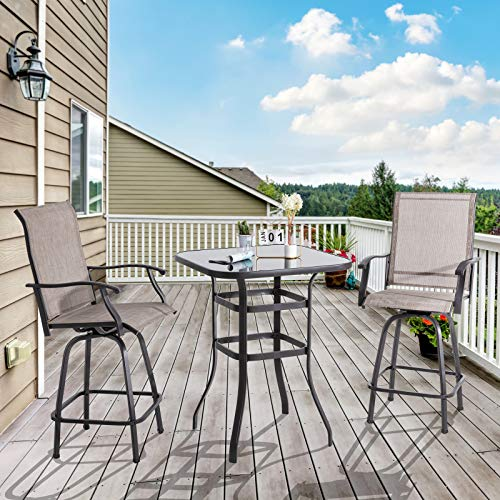Shintenchi 3 Pieces Patio Swivel Bar Set, All Weather Textile Fabric Outdoor High Bar Stool Bistro Set with 2 Bar Chairs and Glass Table for Home, Backyard, Garden, Lawn, Porch (Brown)