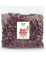 NaturaForte 1000g hibiscus-bloemen - 1a premium kwaliteit, volledig aan de lucht gedroogde bloemen voor hibiscus-thee in aroma-zakje, zonder kunstmatige kleurstoffen, aroma's of toevoegingen, ongeweven