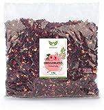 NaturaForte 1000g Flores de Hibisco - Calidad Premium. Flores enteras secadas al aire para té de hibisco. Sin colorantes, sabores o aditivos artificiales ni azufre