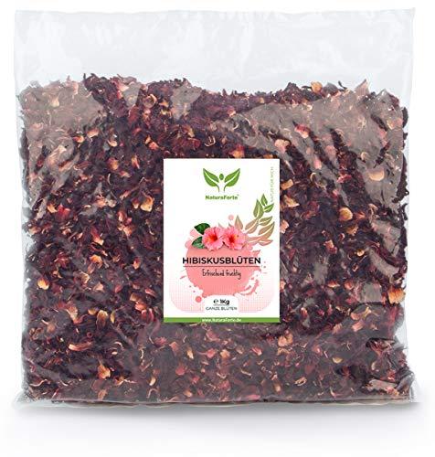 NaturaForte Hibiskusblüten getrocknet 1000g - 1a Premiumqualität, Ganze luftgetrocknete Hibiskus Blüten für Hibiskustee im Aroma-Beutel, Ohne künstliche Farbstoffe, Aromen oder Zusätze, Ungeschwefelt