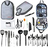 Ironsten Camping Cooking Utensils Set Camp Kitchen Equipment Portable Picnic Cookware Kit Bag Campfire Grill Utensil Gear Essentials Gadgets Accessories for RV Car, Tent Campers, Outdoor Picnics BBQ
